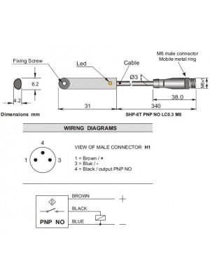 Sensor Magnético SHP-6T-PNP-NO-0,3-M8