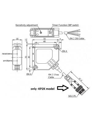 Sensor Fotoelétrico Difuso MS-R3JK-DU100-KP2