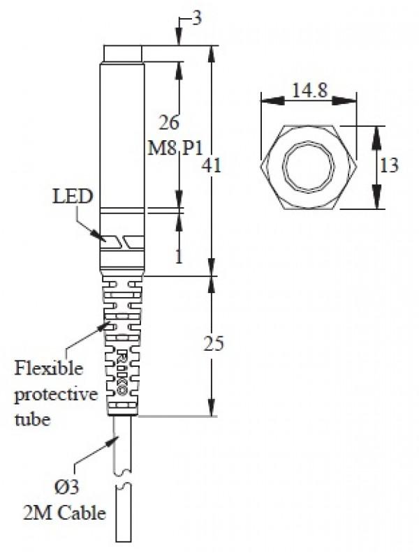 Sensor indutivo M8 PSC0802-N