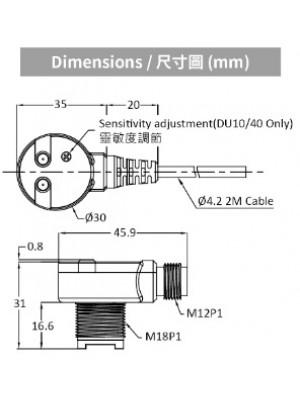 Sensor fotoelétrico Difuso MS-PTQ18-DU40-P