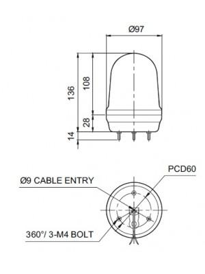 Sinaleiro LED com sonoro MFL100-BZ-AC110/220V-R